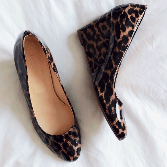 aa1a021d3d8 J. Crew Martina Leopard Wedge Patent Leather 37.5
